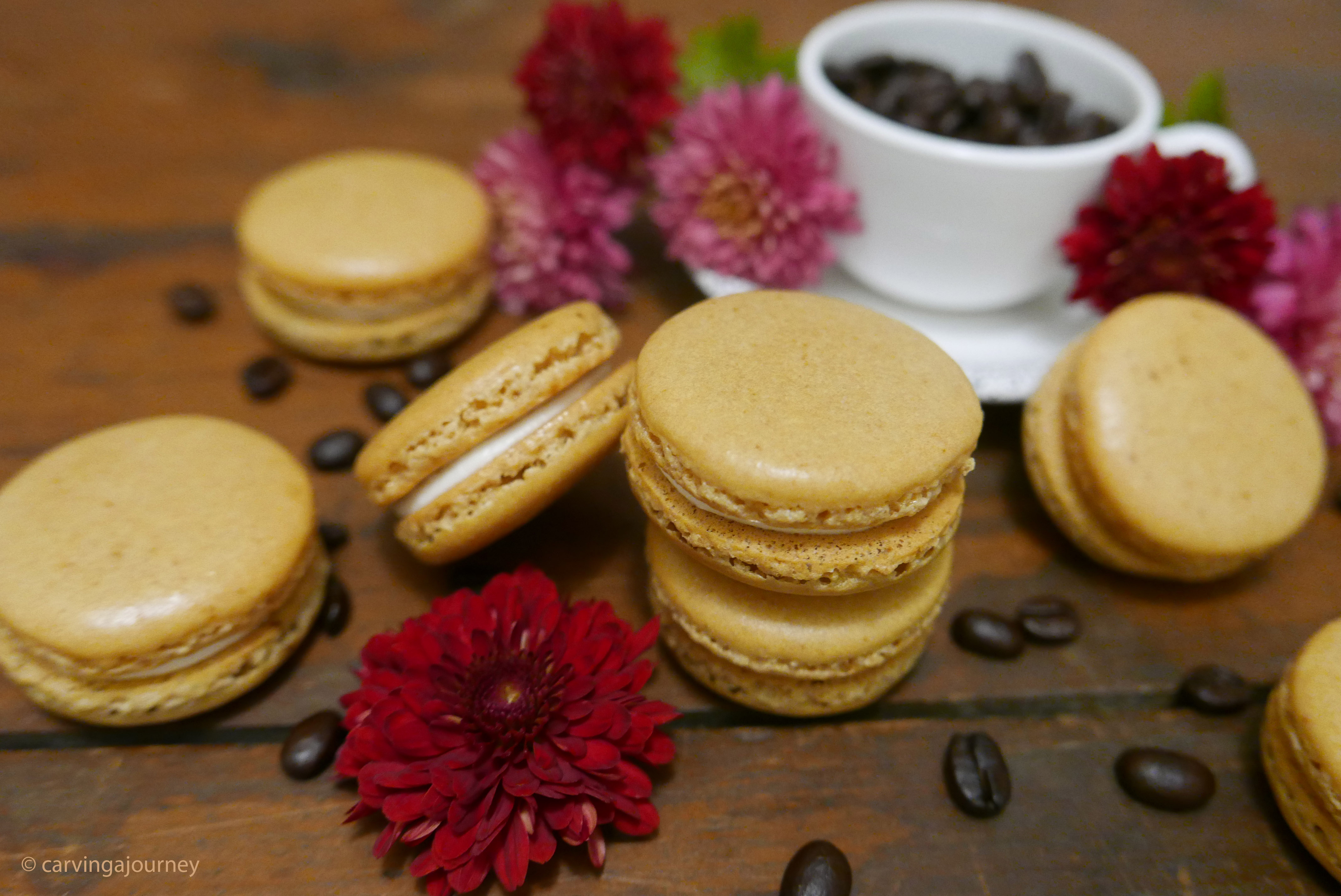 Coffee French Macarons with Vanilla Buttercream Filling